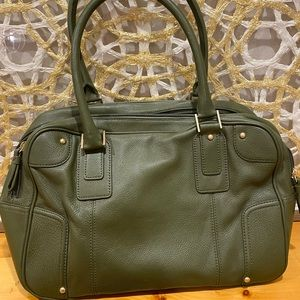 Talbots NEW $149 Olive Green Large Leather Bag